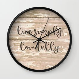 Live Simply Love Fully on Chipped Paint Wall Clock