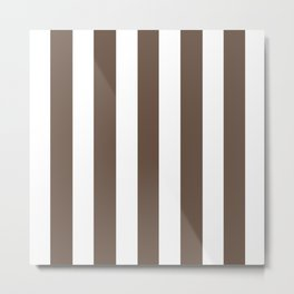Quincy brown - solid color - white vertical lines pattern Metal Print