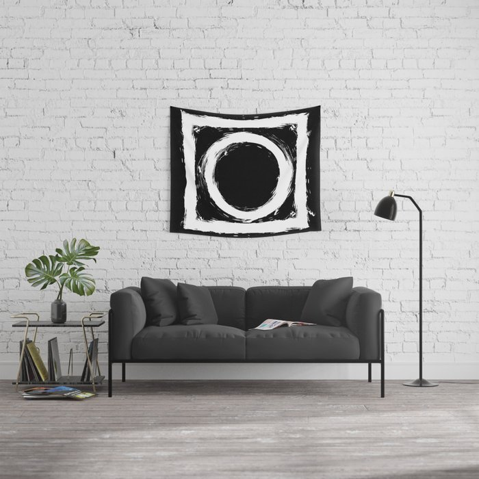 Black and white circle splatter Wall Tapestry