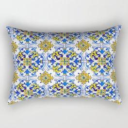 Blue Yellow Seamless Pattern Antique Portuguese Azulejo Tile Rectangular Pillow