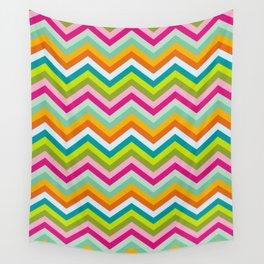 Bright neon chevron stripes Wall Tapestry