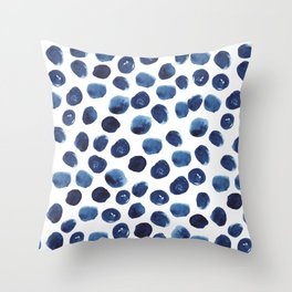 India - blue paint, ink spots, design, watercolor brush, dots, cell phone case Throw Pillow