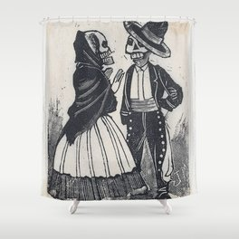A male and female skeleton talking (vignette for the feast of the dead) Shower Curtain