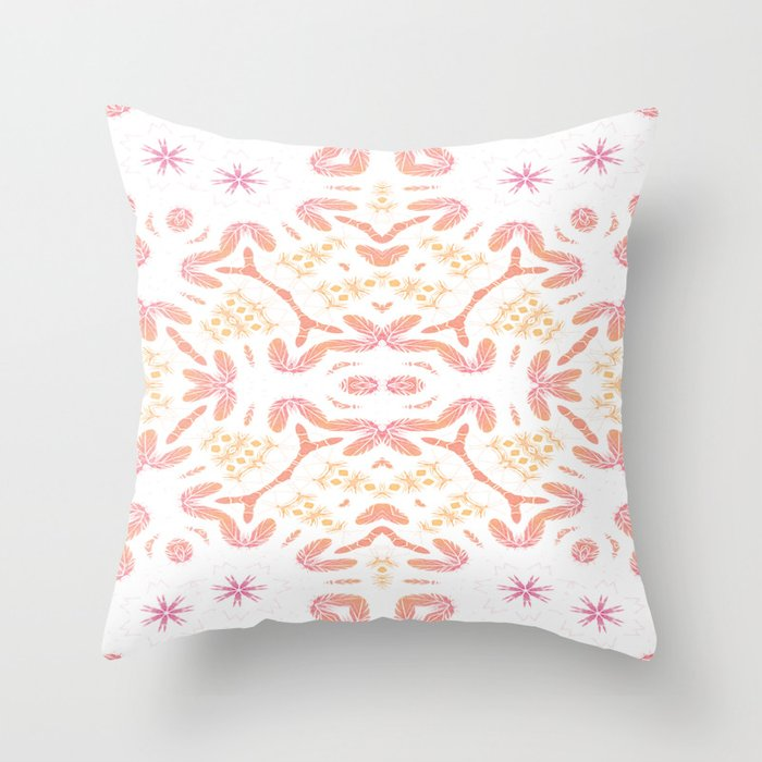 Boho Feathers Throw Pillow
