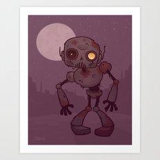 Rusty Zombie Robot Art Print