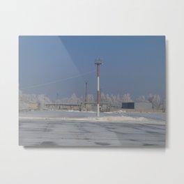At the airport of Samara in Russia in winter Metal Print