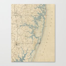 Vintage Map of Ocean City Maryland (1900) Canvas Print