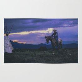 Santa Fe Cowboy on Horse With Teepee Rug