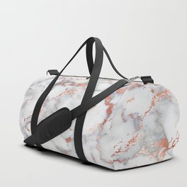Glam stylish faux rose gold gray abstract blush chic marble Duffle Bag