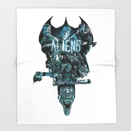 Aliens Illustration Tribute Throw Blanket