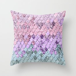 Mermaid Scales with Unicorn Girls Glitter #1 #shiny #pastel #decor #art #society6 Throw Pillow