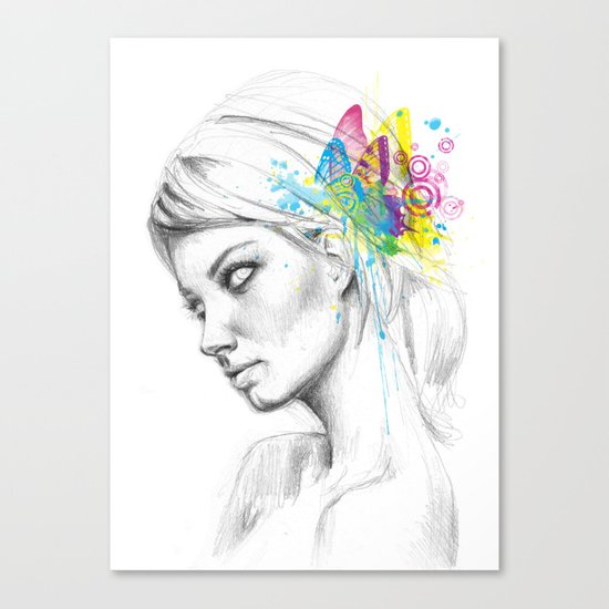 Butterfly Queen Girl with Butterflies Canvas Print