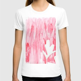 white flowers on pink T-shirt