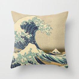 The Great Wave - Katsushika Hokusai Throw Pillow