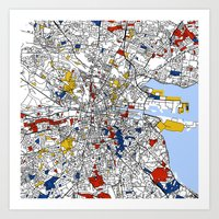 dublin Art Prints featuring Dublin by Mondrian Maps