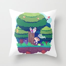 Tiny Worlds - Viridian Forest Throw Pillow