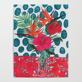 Tropical Bouquet in Living Coral and Emerald Green Poster