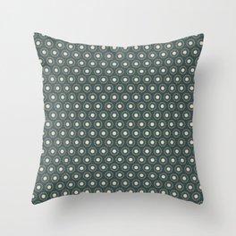Circle Polka Dot Pattern 2, Night Watch, Alpaca Wool Cream and Scarborough Green Throw Pillow