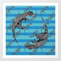 otters Art Prints featuring Swimming Otters by Curious Nonsense.