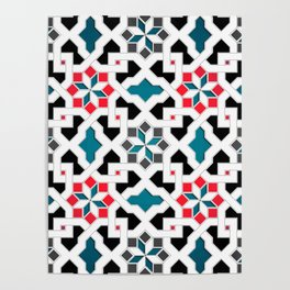 Oriental Pattern - Geometric Design, red / blue / grey Poster