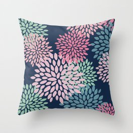 Floral Pattern, Navy Blue, Pink, Coral, Green Throw Pillow