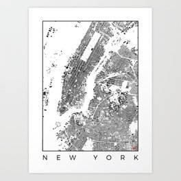 New York Map Schwarzplan Only Buildings Art Print