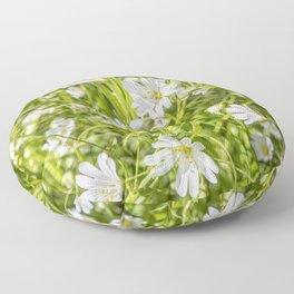 White Anenomes Floor Pillow