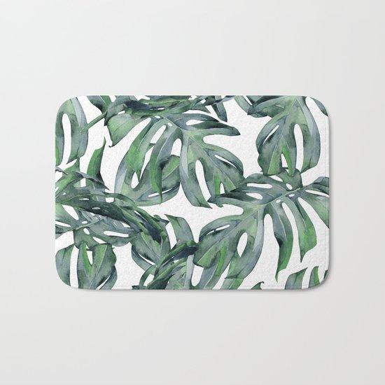 Tropical Palm Leaves Green and White Bath Mat