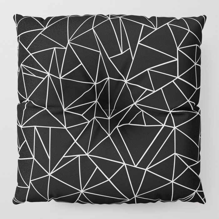 Abstraction Outline Black and White Floor Pillow