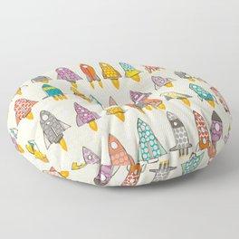 retro rockets eggshell Floor Pillow