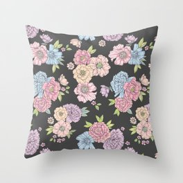 Pastel flower garden Throw Pillow