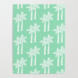 Palm Tree Pattern Mint Green Poster