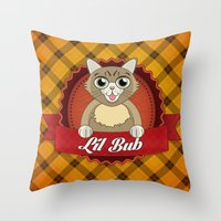 lil bub Throw Pillows featuring Lil Bub by memetronic