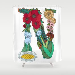 Floral Letter N Shower Curtain