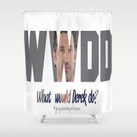 derek hale Shower Curtains featuring What would Derek Do? by Crystal