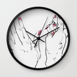 Pink Nails Wall Clock