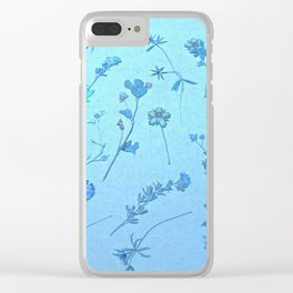 Vintage Blue Wildflowers Clear iPhone Case
