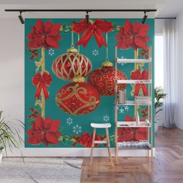 TEAL COLOR RED CHRISTMAS  ORNAMENTS &  POINSETTIAS FLOWER Wall Mural
