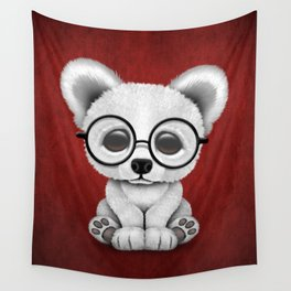 Cute Polar Bear Cub with Eye Glasses on Red Wall Tapestry