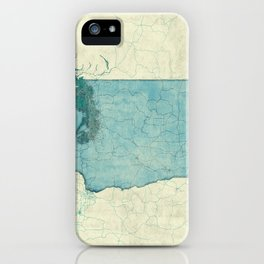 Washington State Map Blue Vintage iPhone Case