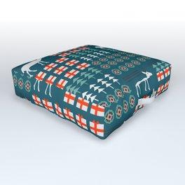 Cheerful Christmas pattern with deer Outdoor Floor Cushion
