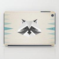 racoon iPad Cases featuring Geometric Racoon by Studio Caro △