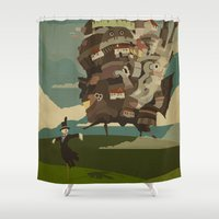 castle Shower Curtains featuring Moving Castle by Danny Haas