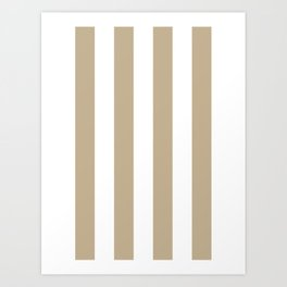 Vertical Stripes - White and Khaki Brown Art Print