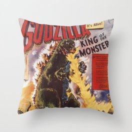 Godzilla rampage Throw Pillow
