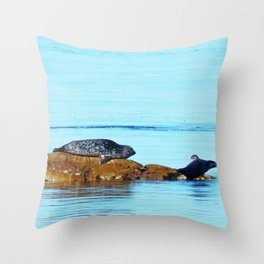 Seal pup waves to mom Throw Pillow