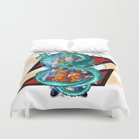 dbz Duvet Covers featuring DBZ - A Hero by Mr. Stonebanks