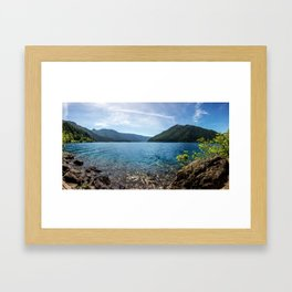 Lake Crescent Olympic Mountain Pano Framed Art Print