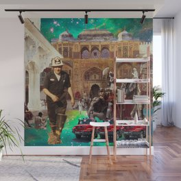 THE FIREMAN AND HIS THREE FIRE ENGINES Wall Mural