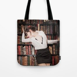 """Hot for Reading"" - The Playful Pinup - Sexy Librarian Pin-up Girl by Maxwell H. Johnson Tote Bag"